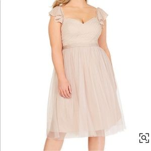 CITY CHIC PLUS NUDE TULLE FLUTTER SLV DRESS 16 NWT